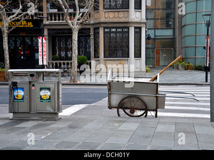 Manual street cleaning equipment on road - Stock Photo