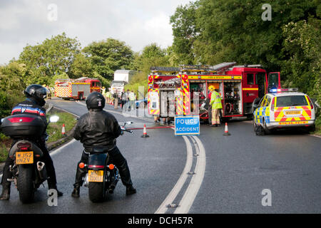 Police Car And Fire Engine Block A Road In Stockton Heath