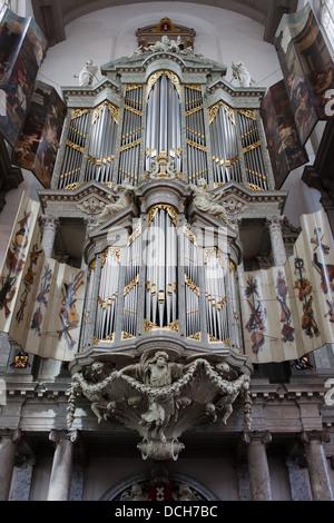 Westerkerk (Western church) organ in Amsterdam, Holland, Netherlands. - Stock Photo