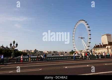 evening summer view over westminster bridge and river thames London England UK - Stock Photo