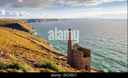 The Wheal Coats Tin Mine at St Agnes an iconic view of Cornwall - Stock Photo