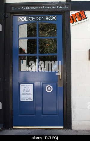 The rear door of The Olde Ship British pub in Fullerton, California ; USA decorated as an old British Police public - Stock Photo