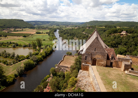 The view of river Dordogne, seen from  the Chateau de Baynac, Beynac et Cazenac, the Dordogne, France Europe - Stock Photo