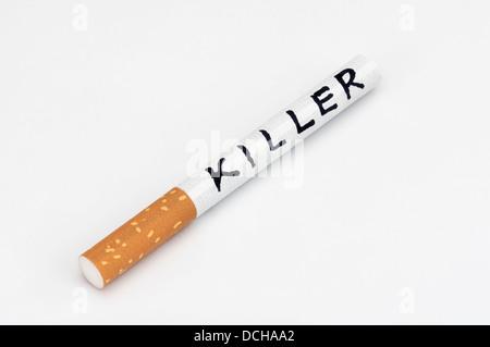 Smoking kills cigarette killer addiction - Stock Photo