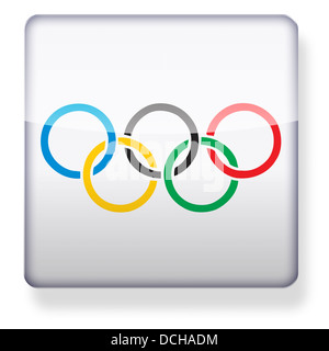 Olympic rings as an app icon. Clipping path included. - Stock Photo