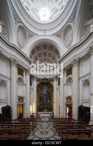interior, Church of San Carlo alle Quattro Fontane, Rome, Italy - Stock Photo
