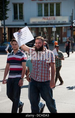 Demonstration in berlin Germany for Mursi - Stock Photo