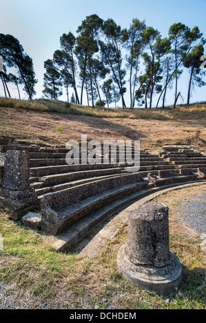 The ruins of the theatre at Ancient Megalopolis. Megalopoli, central Peloponnese, Greece. - Stock Photo