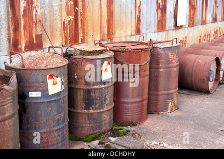 barrel with radioactive waste disposal - Stock Photo