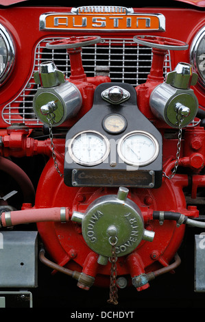 Detail of a Godiva Coventry pump fitted to a Austin Gipsy fire engine - Stock Photo