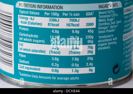 Nutritional information on a baked bean can. - Stock Photo