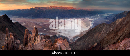 Morning light on the Panamint Mountains over Badwater Basin, from Dantes View, Death Valley National Park, California - Stock Photo