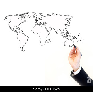 hand of businessman painting map of the world, isolated on white with place for the text - Stock Photo