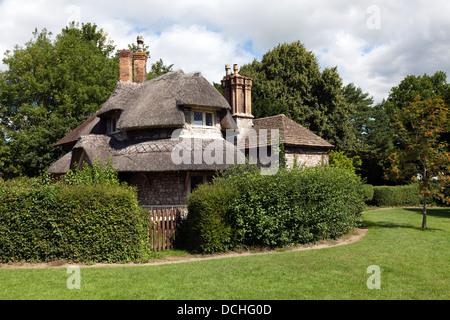 Circular Cottage with Sweetbriar Cottage in the background, Blaise Hamlet, Henbury, Bristol, England, UK. - Stock Photo