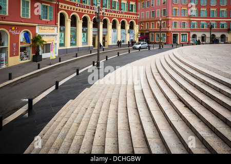 Stairs at Place Massena in Nice, France - Stock Photo