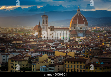 Sunset from Piazzale Michelangelo in Firenze (Florence), Italy - Stock Photo