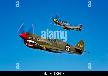 A North American P-51D Mustang Kimberly Kaye and a Curtiss P-40E Warhawk in flight near Chino, California. - Stock Photo