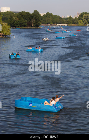 Boats on the Serpentine - Hyde Park - London - Stock Photo