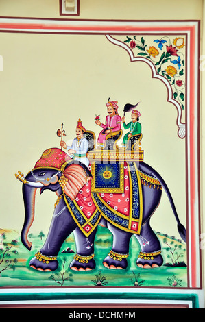 Wall painting Chowki Dhani Jaipur Rajsthan India Elephant Riders Ornamental Art Colorful royalty riding - Stock Photo