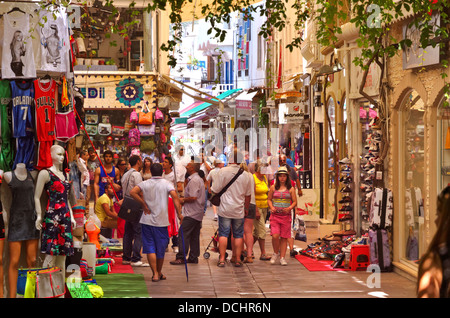 Busy tourist shops in the bazaar area of Bodrum town, towards 'Bar Street'. Mugla Province, Turkey - Stock Photo