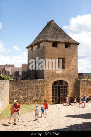Tourists at Chateau de Beynac or castle, Beynac et cazenac, the Dordogne, France Europe - Stock Photo