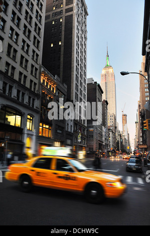 Traffic on the fifth avenue  in Manhattan New York city. - Stock Photo