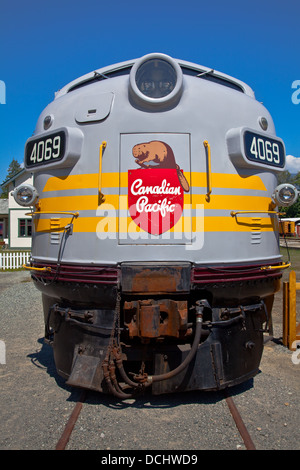 Front view of an old Canadian Pacific locomotive at the Squamish Rail Museum, British Columbia - Stock Photo