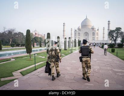 Taj Mahal White Marble Mausoleum - Agra, India a UNESCO World Heritage Site - Stock Photo