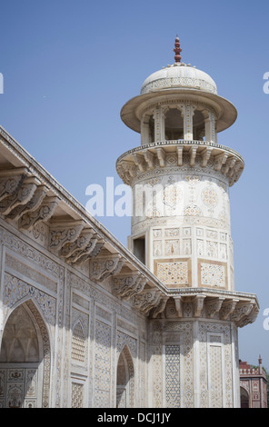 Itimad-ud-Daulah ( Baby Taj ) Minaret and inlaid marble pietra dura - Stock Photo