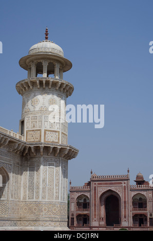 Itimad-ud-Daulah ( Baby Taj ) - Minaret and Entrance Gate - Stock Photo