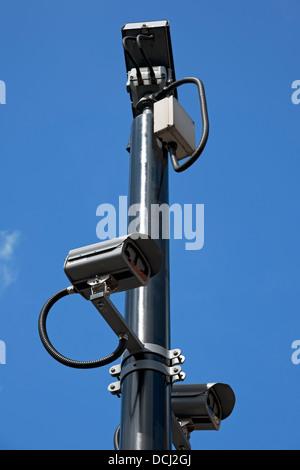 Close up of CCTV camera cameras on pole England UK United Kingdom GB Great Britain