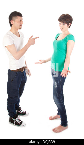 Man and woman having a argue isolated on white background - Stock Photo