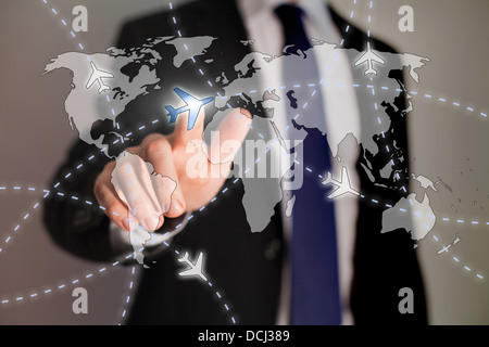 business travel concept, paths of airplanes on the worldmap - Stock Photo