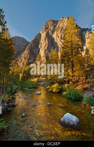 Granite peaks over the South Fork of the Kings River near Cedar Grove, Kings Canyon National Park, California - Stock Photo