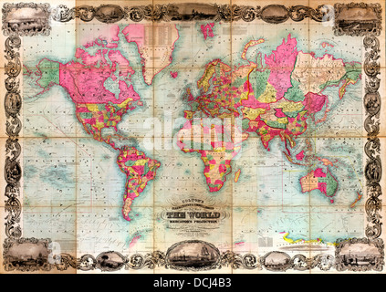 Colton's illustrated & embellished steel plate map of the world on Mercator's projection : compiled from the latest - Stock Photo