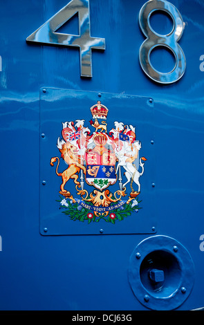 Crest on the Dominion of Canada A4 Pacific steam locomotive National Railway Museum York North Yorkshire England - Stock Photo