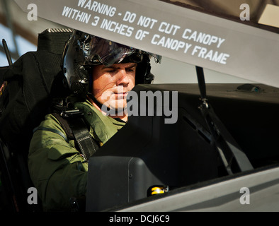 Lt. Cdr. Chris Tabert pilots the first F-35C Lightning II flight at Eglin Air Force Base Aug. 14. Before arriving - Stock Photo