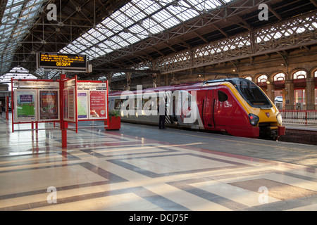 Virgin Voyager 'John Cabot' 221102 with new front side panels and sister class 222 Meridian units, Rail travel in - Stock Photo