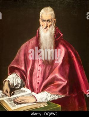 17th century  -  Saint Jerome as Scholar - Doménikos Theotokópoulos (El Greco) - Oil on canvas - Stock Photo