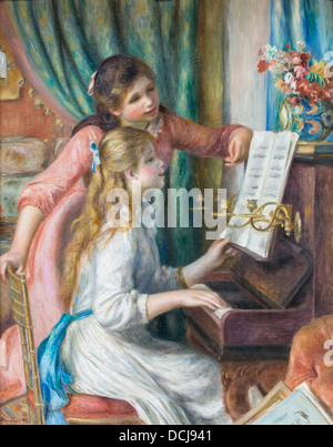 19th century  - Two Young Girls at the Piano - Pierre-Auguste Renoir (Auguste Renoir) (1892) - Met Museum of Art - Stock Photo