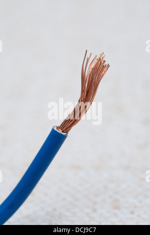 power cable exposing strands of copper wires - Stock Photo