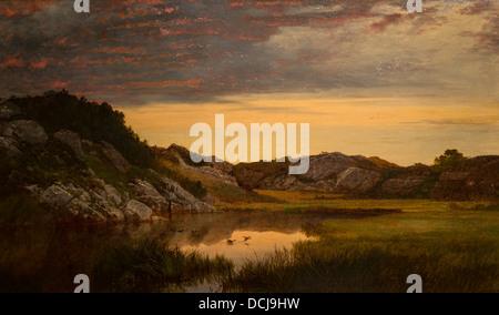 19th century  -  Sunrise on the rocks of heaven - John Frederick Kensett (Newport, 1859) Oil on canvas - Stock Photo