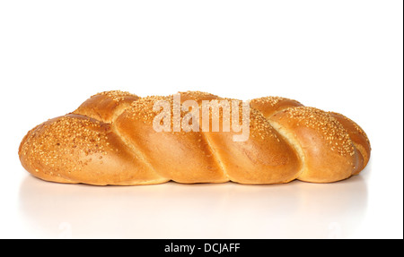Challah with sesame seeds isolated on white - Stock Photo