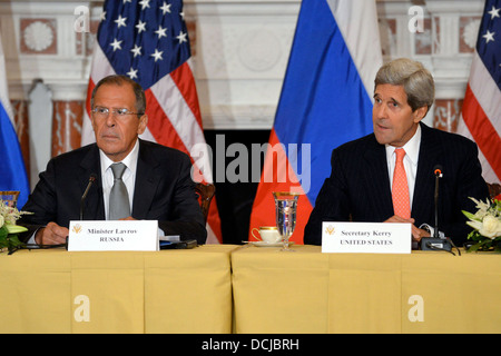 Secretaries Kerry and Hagel Meet With Russian Ministers Lavrov and Shoygu - Stock Photo