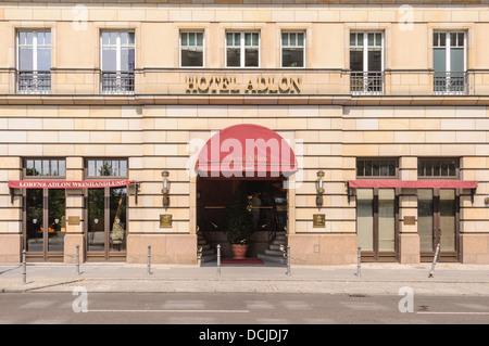 Rear entrance of the Hotel Adlon Kempinski and wine shop Lorenz Adlon Weinhandlung - Berlin Germany - Stock Photo