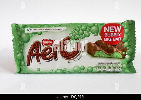 bar of Nestle Mint aero new bubbly big bar of chocolate isolated on white background - Stock Photo