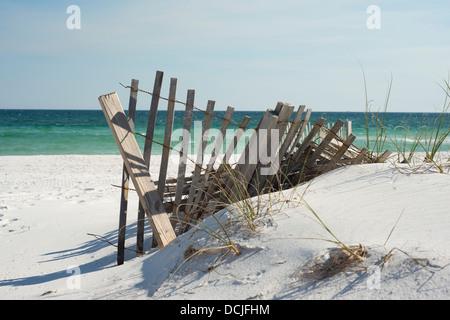 Beach fence near Pensacola Beach, Florida. - Stock Photo