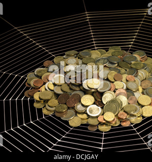 financial theme showing a pile of Euro coins on a painted spiderweb in black back - Stock Photo