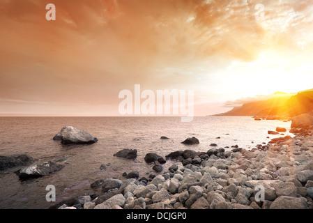 Scenic sunset at Black Sea in Crimea - Stock Photo