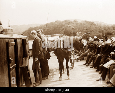 Lake Windermere Ferry in 1906 - Stock Photo